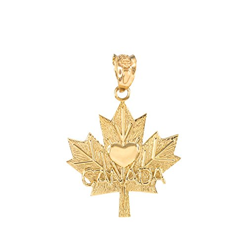 10K Or jaune d'érable Canada Feuille d'érable avec pendentif coeur
