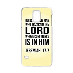 HOT sale,Blessed Is the man Who Trusts in the Lord Whose Confidence is in Him Jeremiah 17:7 pattern for white plastic Samsung Galaxy S5 case