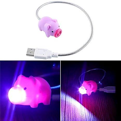 LED luces de noche - Mini portátil cute Pig ble B LED luz de noche para Power Bank PC Portátil - Mini: Amazon.es: Iluminación