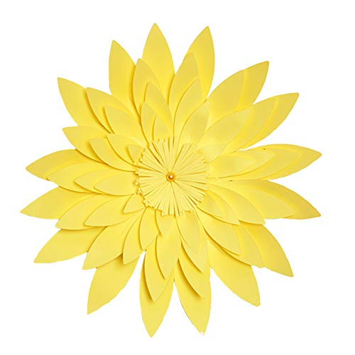 Yinpinxinmao 20cm DIY Paper Artificial Flower Wall Sticker Wedding Party Wall Home Decoration Light Yellow