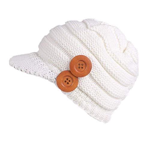 (New Women Hats for Winter,Teen Girls Warm Wool Snow Ski Skull Soft Beanie Cap Headgear Knit Berets Headbands Outdoor White)