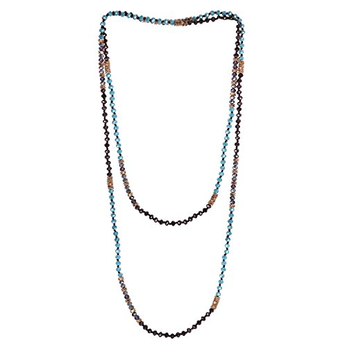 KELITCH Boho Multi Strand Necklace Faceted Glass Crystal Beaded Extra Long Chain - E