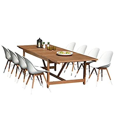 Brampton 9 Piece Outdoor Eucalyptus Extendable Dining Set | Perfect for Patio | with White Chairs, Dark - Perfect outdoors: 9 piece patio Dining furniture set, ideal for patios, backyards, gardens, balconies, Poolside and more. Dimensions: Table dimensions 79L x 42W x 30H extended length 118. Chair dimensions 23. 5L x 25W x 34H seating Dimensions 20. 5L x 16W x 17. 5H. Table material: 100% FSC certified high quality Eucalyptus Wood (Eucalyptus Grandis). chairs material: virgin white resin buckets and eucalyptus wood legs. Its resistance to weather and UV radiation makes the set Durable and enjoyable. - patio-furniture, dining-sets-patio-funiture, patio - 41ZHhlvcymL. SS400  -