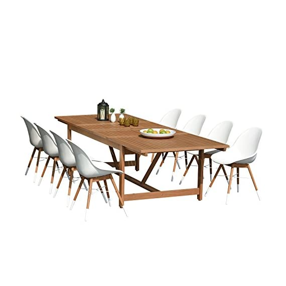 Brampton 9 Piece Outdoor Eucalyptus Extendable Dining Set | Perfect for Patio | with White Chairs, Dark - Perfect outdoors: 9 piece patio Dining furniture set, ideal for patios, backyards, gardens, balconies, Poolside and more. Dimensions: Table dimensions 79L x 42W x 30H extended length 118. Chair dimensions 23. 5L x 25W x 34H seating Dimensions 20. 5L x 16W x 17. 5H. Table material: 100% FSC certified high quality Eucalyptus Wood (Eucalyptus Grandis). chairs material: virgin white resin buckets and eucalyptus wood legs. Its resistance to weather and UV radiation makes the set Durable and enjoyable. - patio-furniture, dining-sets-patio-funiture, patio - 41ZHhlvcymL. SS570  -