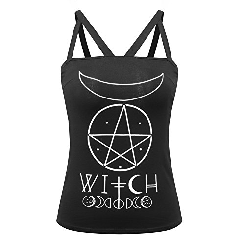 Cimeiee Sexy Summer Tank Top for Gothic Girl Howllow Out Letter Witch Pentagram Moon Print Punk Vest Camis Size L