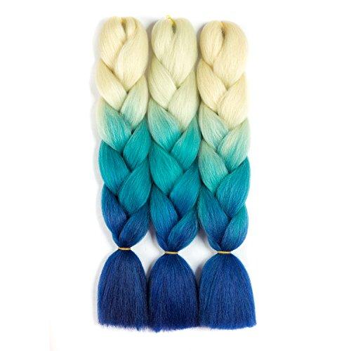 - SONNET Synthetic Ombre Jumbo Braiding Hair 3bundles/lot 300g Kanekalon Fiber Hair Extension for Box Twist Braiding with 10pcs Free Decoration Dreadlock Deads(L-Yellow/L-Blue/Blue)
