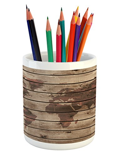 Lunarable Rustic World Map Pencil Pen Holder, World Atlas Reflection on Horizontal Oak Trees with Lines Region Space Theme, Printed Ceramic Pencil Pen Holder for Desk Office Accessory, -