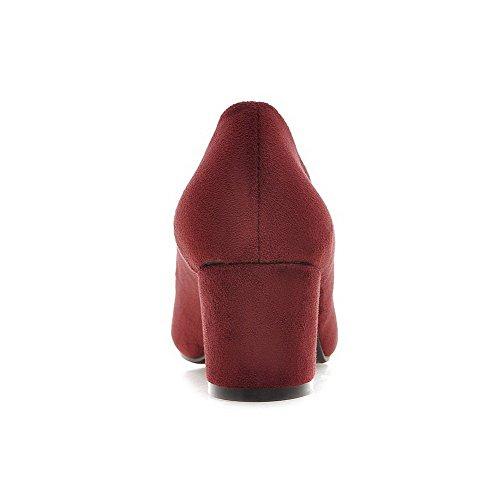 AllhqFashion Mujer Puntera Cuadrada Puntera Cerrada Tacón Medio Gamuza(Imitado) Tachonado De salón Rojo