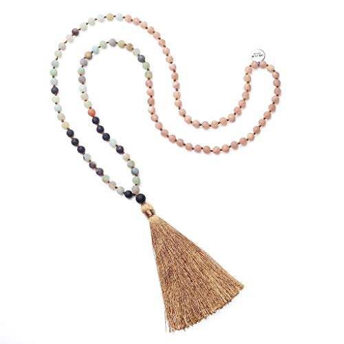 - OKIKO 108 Mala Beads Necklace Tassel Long Boho Statement for Women Yoga Meditation Gemstone Amazonite/Lava Stone/Aventurine