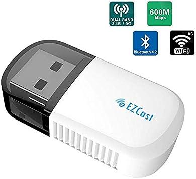 Lemorele Adaptador WiFi USB Inalámbrico 5G/2.4G AC600Mbps Bluetooth 4.2 Adaptador de Banda Dual Mini WiFi Dongle para PC, Desktop con Windows ...