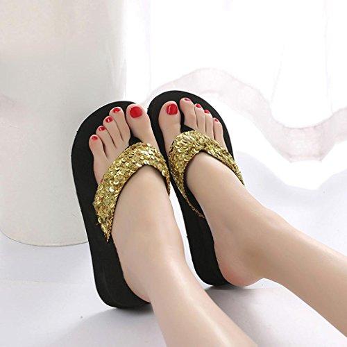 Sandalen Schuhe Frauen Slipper Gizeh Slipper amp; Gold Zehentrenner Strand MOIKA Flops Badeschuh Mode Rutsch Pailletten Anti Damen Outdoor Flip Indoor q8zwTxp