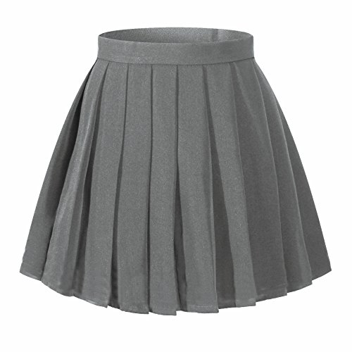 Women`s Japan School Plain Solid Pleated Summer Skirts (L,Dark grey) -