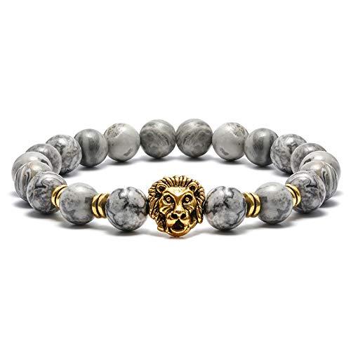 (M MOOHAM Natural Gemstone Bead Bracelets - 8mm Natural Maps Stone Picasso Stone Beads Bracelet, Men Women Stress Relief Yoga Beads Elastic Semi-Precious Gemstone Bracelet Lion Charm Bangle)
