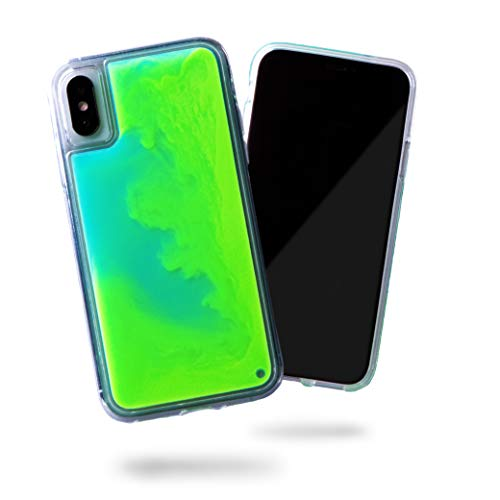 SteepLab Flowing Neon Sand Liquid Case for iPhone Xs & iPhone X - Full Body Protection with Raised Bezel - Mint and Neon Green Glow