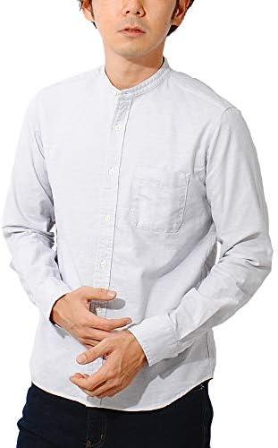 (チャオ) 日本製 オックスフォード バンドカラーシャツ 長袖 メンズ