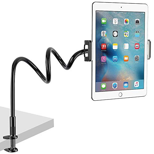 Nulaxy Tablet Holder, Flexible Gooseneck Tablet Stand Mount for iPad, iPhone, Samsung Galaxy Tabs, Amazon Kindle Fire HD and More 4.7-10.5 Devices, Good for Desk, Bed, Kitchen, Office-Black