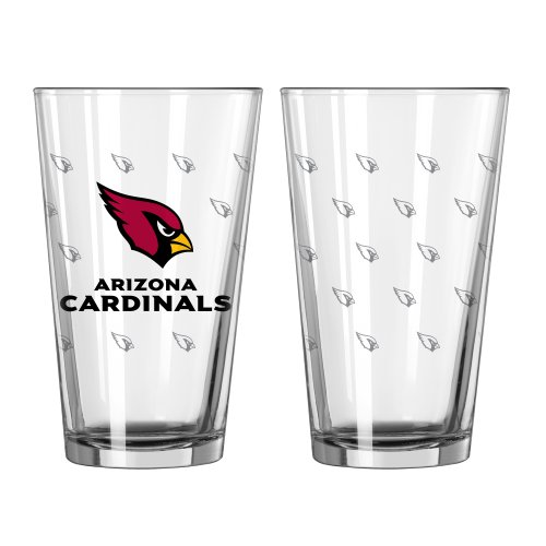 NFL Arizona Cardinals Satin Etch Pint, 16-ounce, 2-Pack Cardinals Pint Glass
