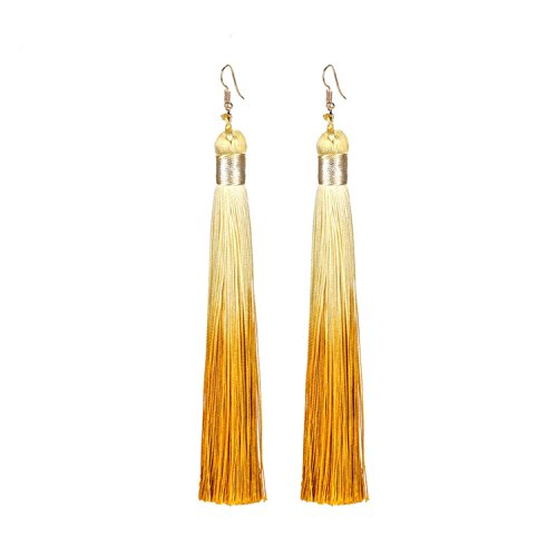 Boho Long Silk Tassel Earrings Bohemian Exaggerated Women Dangle Earring Europe Style Dangle Drop Earrings Brincos,A -