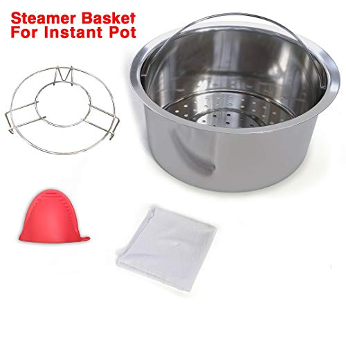 Instant Pot Accessories, Steamer Basket with Pot Rack, Vegetable & Egg Steam Rack, Fits Insta Pot & Pressure Cooker 5, 6, 8 Qt, Includes Steam Cloth & Mini Mitten by GaoSheng by GaoSheng