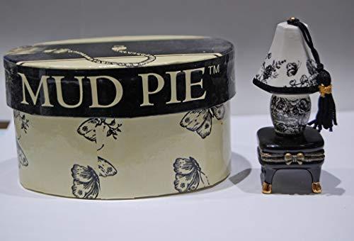 Mud Pie Toile Lamp Porcelain Hinged -