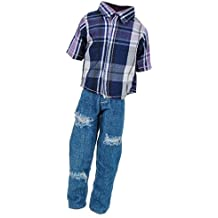Jili Online Dolls Clothes For Barbie Ken Doll - Casual Check T-shirt Tops + Ripped Jeans Pants Trouser Suit Dress Up Accs