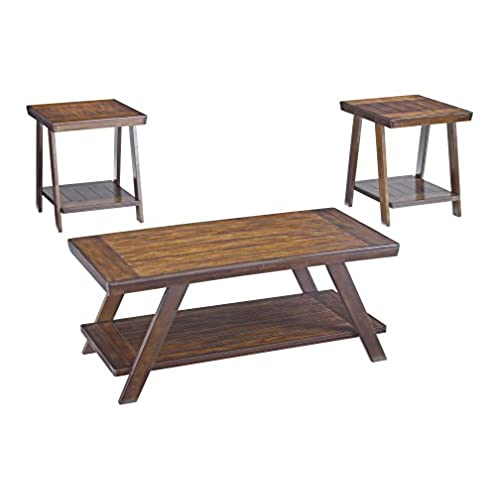 Ashley Furniture Signature Design   Bradley 3 Piece Occasional Table Set    Burnished Brown