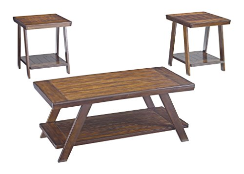 Rustic Occasional Tables (Ashley Furniture Signature Design - Bradley Occasional Table Set - End Tables and Coffee Table - 3 Piece - Rectangular - Burnished Brown)