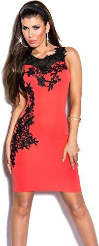 Elegante insertos colores L e vestido varios con de S noche bordados Coral KouCla K9103 talla transparentes AHqawx58c