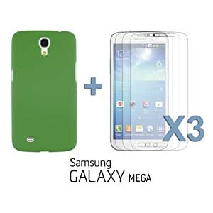 OnlineBestDigital - Frosted Surface Hard Back Plastic Case for Samsung Galaxy Mega 6.3 inch - Green with 3 Screen Protectors