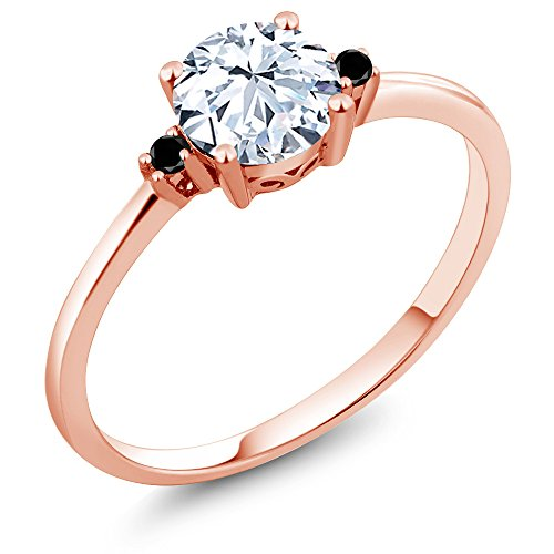 Gem Stone King 10K Rose Gold Engagement Solitaire Ring set with 1.23 Ct White Created Sapphire and Black Diamonds (Size 9)