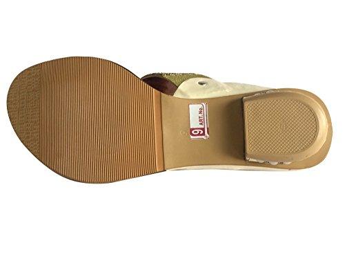 Étape N pour femme Style nouvelle plate-forme Sandales Parti Mesdames Chaussures Plat indien Khussa jutti