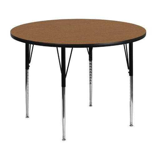 Flash Furniture 48'' Round Oak Thermal Laminate Activity Table - Standard Height Adjustable Legs