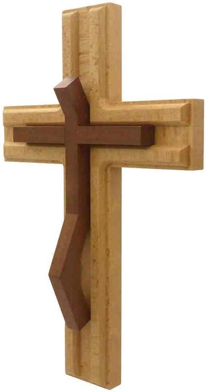 moderna croce in croce kruzifix24 Devotionals croce gioiello per la parete 22 x 12 x 1,5 cm croce da parete in legno di faggio naturale laccato