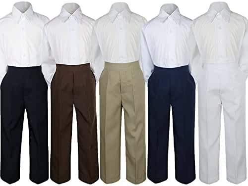 2pc Baby Boy Kid Teen Formal Party Tuxedo Suit Dress Shirt w/ Color Pants Sm-20