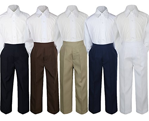 2pc Baby Boy Kid Teen Formal Party Tuxedo Suit Dress Shirt w/ Color Pants Sm-20 (Large, Brown) ()
