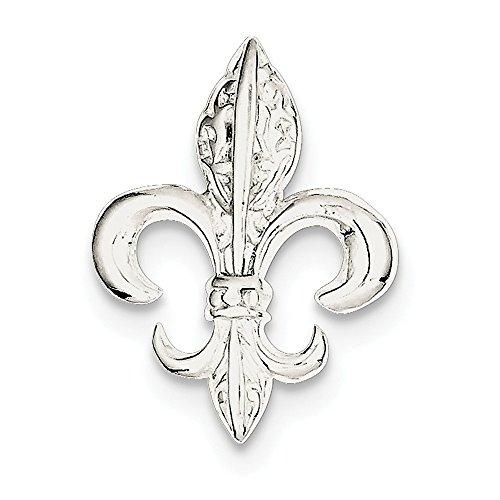 Sterling Silver Solid Textured Polished Hidden bail Fleur De Lis Slide ()