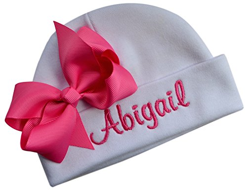 Custom Beanie Hats - Personalized Embroidered Baby Girl Hat with Grosgrain Bow with Custom Name (White Hat/Hot Pink Bow)