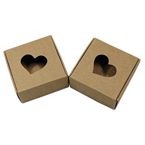 20Pcs Brown Kraft Paper Recyclable Box with Heart-shaped Window Gift Craft Candy Chocolate Paper Packaging Boxes (7.5x7.5x3cm (3x3x1.2 ()