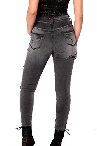 Femmes De Et Dchirs Slim Taille Black Jeans Jeans Destoryed Les OxRqwaPR