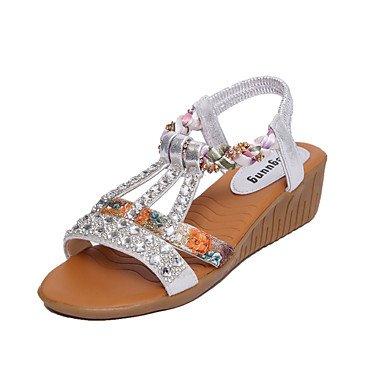 Glitter Plata Las brillante UK6 Casual CN39 verano de Confort plano mujeres EU39 talón PU Oro US8 sandalias Caminar wSwPqHWU1O