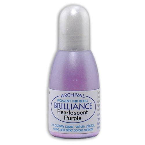(Tsukineko 20cc Brilliance Pigment Inker, Re-Ink Brilliance Inkpads and Dew Drops, Pearl Purple)