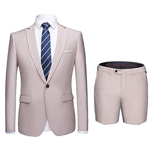 MY'S Men's Suit Slim Fit One Button 3-Piece Suit Blazer Dress Business Wedding Party Beige - Jacket & Shorts (Best 3 Piece Suits For Men)