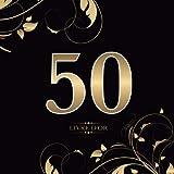50 Livre d'or: Pour le 50e anniversaire | Pour les félicitations, les dictons, les dessins et les photos | Pour 30 à 60 invites | Design : Or sur noir