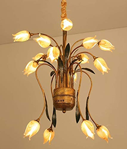 SALSA LIGHTING Crafted Chandelier,Colored Tulip Flower Shaped Glass Shade with Bronze Base for Art Deco,Bedroom,Dining Room,Living Room,yellow ()