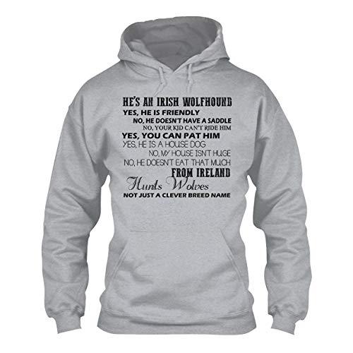 Unique Funny Irish Wolfhound Hoodies, Long Sleeve Hoodie Grey,XL
