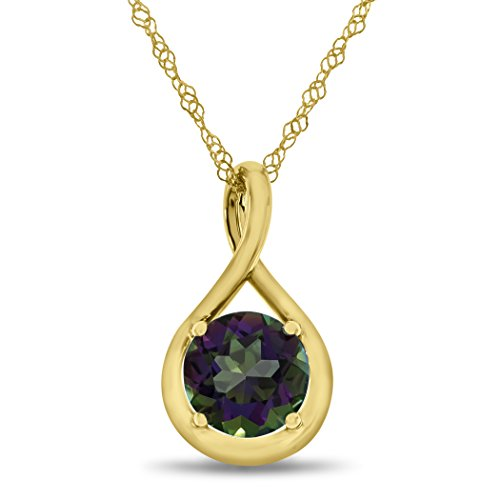 Finejewelers 7mm Round Mystic Topaz Twist Pendant Necklace Chain Included 10 kt Yellow Gold