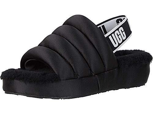 UGG Women's Puff Yeah Wedge Sandal, Black, 8 M US