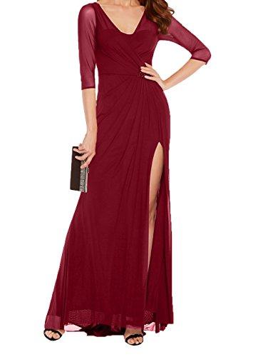 Festlichkleider Charmant Abendkleider Promkleider Damen Partykleider Weinrot V Etuikleider Chiffon Ausschnitt Sexy Brautmutterkleider w1qCS