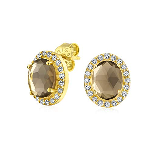 2.2CT Pave CZ Halo Gemstone Brown Smoky Quartz Oval Stud Earrings For Women 14K Yellow Gold Plated Sterling Silver (Quartz Faceted Ring Smoky Oval)