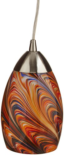 Elk 10089/1RV Mini Vortex 1-Light Pendant with Rainbow Glass Shade, 4 by 7-Inch, Satin Nickel Finish (3 Pendant Light Vortex)